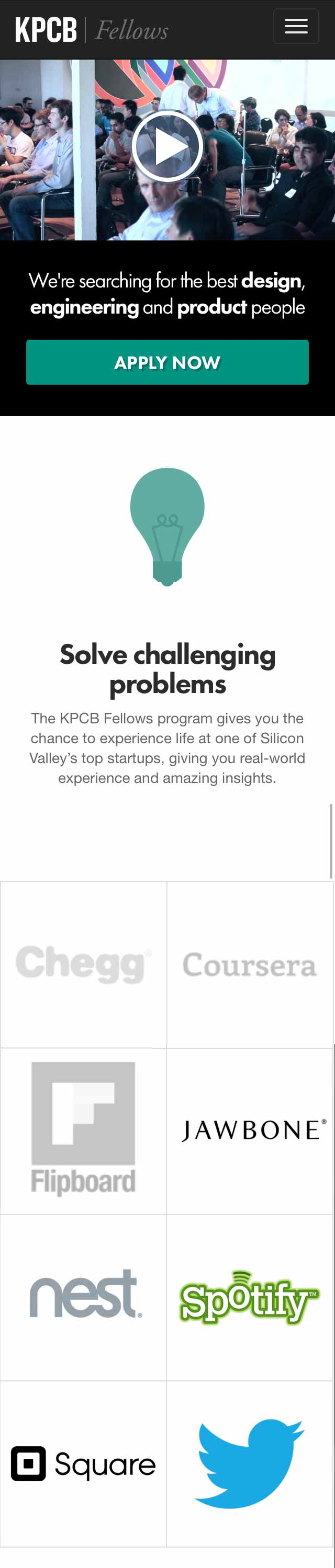 Handheld Screenshot for KPCB Fellows Website Project